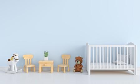 Blue child room interior for mockup, 3D rendering