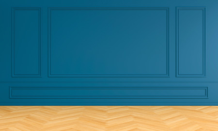 Empty blue room interior with moulding for mockup, 3D rendering