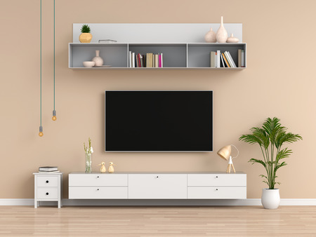 Widescreen TV and sideboard in brown living room, 3D rendering