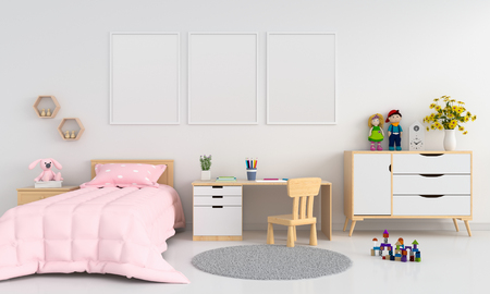 Three blank photo frame for mockup in childern bedroom interior, 3D rendering Stock Photo