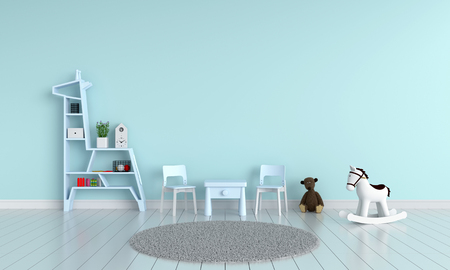 Blue table and chair in child room for mockup, 3D rendering Фото со стока