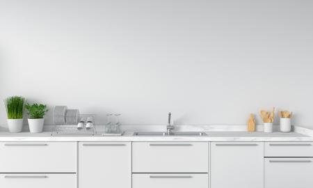 Moderne weiße Küchenarbeitsplatte mit Spüle, 3D-Rendering