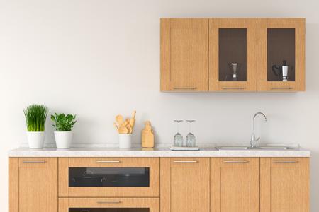 Modern white kitchen countertop with sink for mock up, 3D rendering Standard-Bild