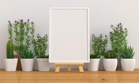 Marco de fotos en blanco para maqueta con cactus y flores en el piso, renderizado 3D