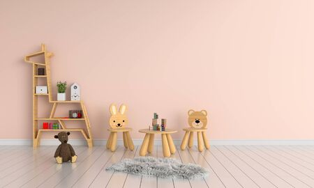 Wood table and chair in child room for mockup, 3D rendering Zdjęcie Seryjne