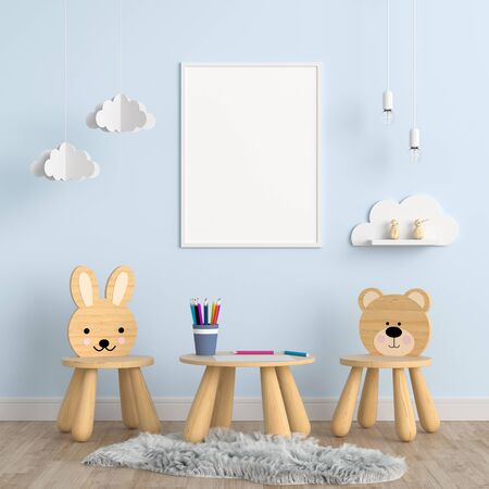Blank photo frame for mockup in children room, 3D rendering Zdjęcie Seryjne - 129265743