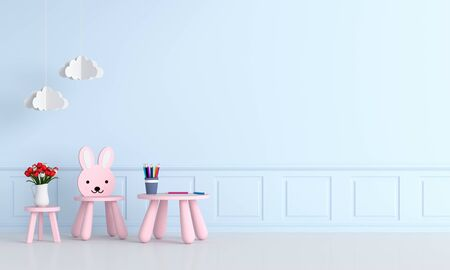 Pink table and chair in light blue child room for mockup, 3D rendering Standard-Bild - 129265739