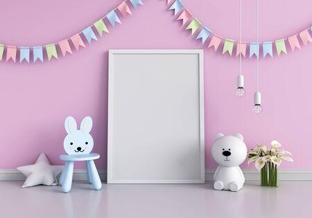Blank photo frame for mockup and doll on floor, 3D rendering Reklamní fotografie