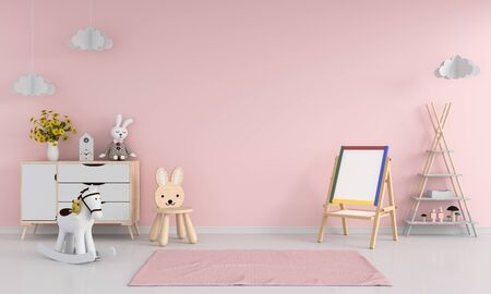 Drawing board and chair in pink child room interior for mockup, 3D rendering Standard-Bild - 129265742