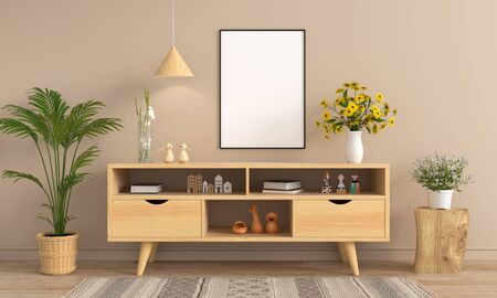 Sideboard and blank photo frame for mockup on wall, 3D rendering