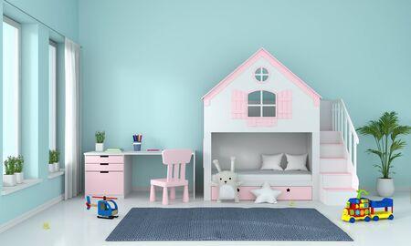 Light blue child bedroom interior for mockup, 3D rendering
