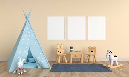 Three empty photo frame for mockup in childern room, 3D rendering