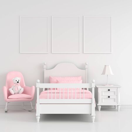 Three empty photo frame for mockup in white child bedroom interior, 3D rendering Stockfoto