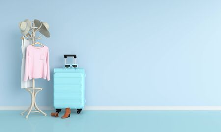 luggage in blue room for mockup, 3D rendering