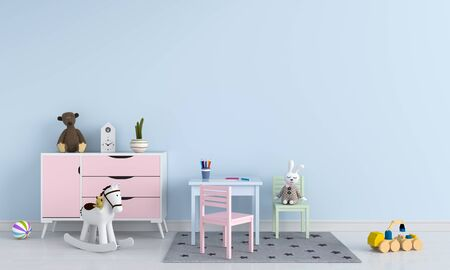 Table and chair in blue child room interior, 3D rendering