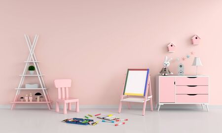 Drawing board and chair in child room for mockup, 3D rendering Zdjęcie Seryjne