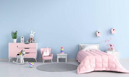 Blue child bedroom interior for mockup, 3D rendering