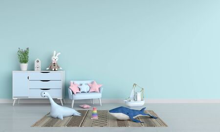 Sofa and doll in blue child room interior, 3D rendering