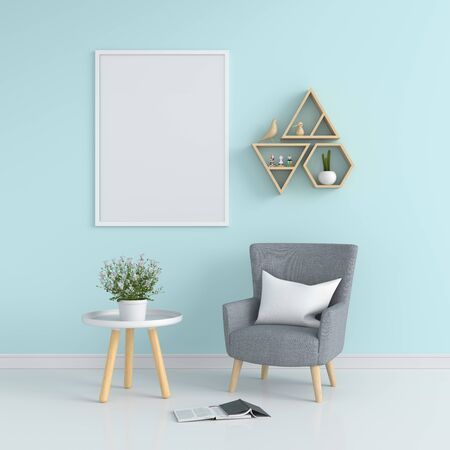 Empty photo frame for mockup in living room, 3D rendering