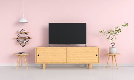 Widescreen TV in pink living room, 3D rendering