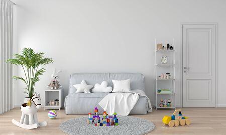 Gray sofa in white child room interior, 3D rendering Stockfoto