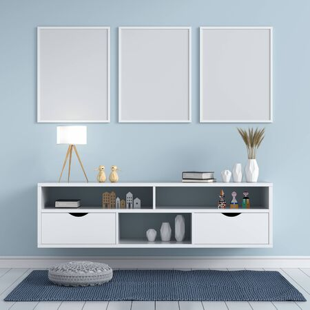 Three blank photo frame for mockup and sideboard in living room, 3D rendering