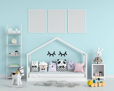 Three empty photo frame for mockup in children bedroom, 3D rendering