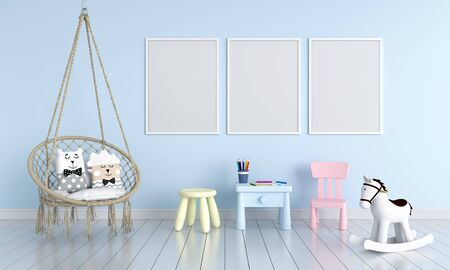 Three blank photo frame for mockup in blue children room, 3D rendering Фото со стока