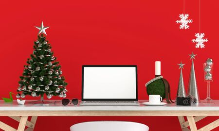 Laptop display for mockup on table, christmas concept, 3D rendering