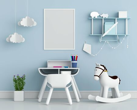 Blank photo frame on wall for mockup in blue child room, 3D rendering Stockfoto