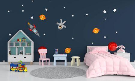 Blue children bedroom interior, 3D rendering