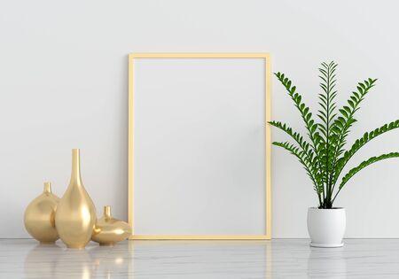 Golden blank photo frame for mockup on marble floor, 3D rendering