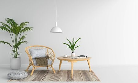 Weave wooden armchair in white room for mockup, 3D rendering