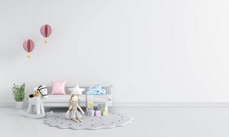 White children room interior for mockup, 3D rendering Stockfoto