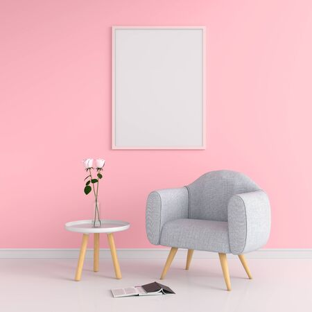 Blank photo frame for mockup on wall, Valentine Concept,  3D rendering