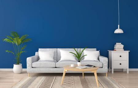 Sofá gris en la clásica sala de estar azul para maqueta, renderizado 3D