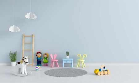 Table and chair in child room interior for mockup, 3D rendering