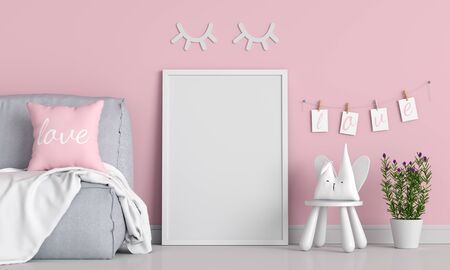 Empty photo frame for mockup in child room, Valentine Concept