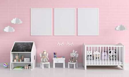 Three blank photo frame for mockup in pink child room, 3D rendering