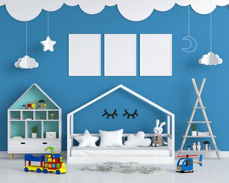 Three empty photo frame for mockup in child bedroom, 3D rendering