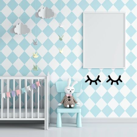 Blank photo frame for mockup on wall in blue child room, 3D rendering