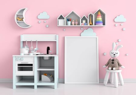 Empty photo frame for mockup and doll on floor, 3D rendering