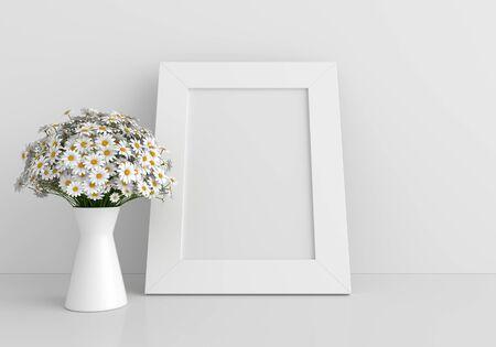 Wedding floral frame for mockup on floor, 3D rendering