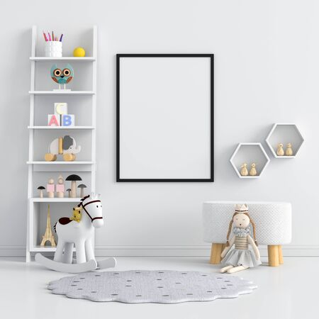 Blank photo frame for mockup in white living room, 3D rendering