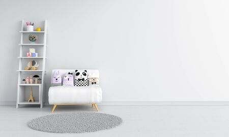 Sofa and shelf in white child room interior, 3D rendering