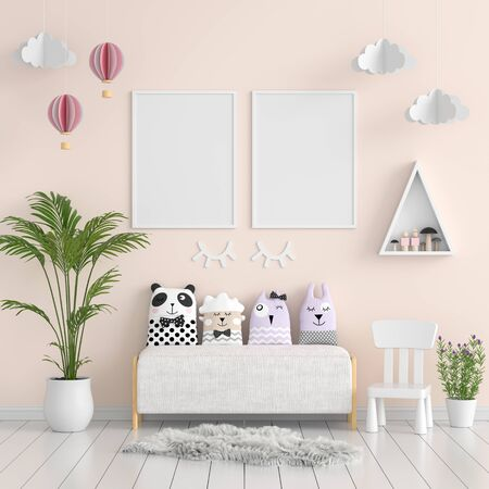 Two  blank photo frame for mockup in living room, 3D rendering