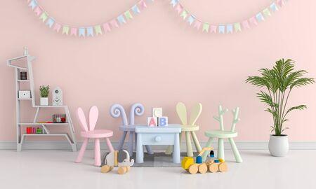 Pink child bedroom interior for mockup, 3D rendering