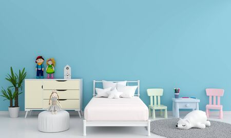 Blue children bedroom interior for mockup, 3D rendering