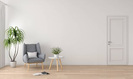 Gray sofa and table in white living room for mockup, 3D rendering