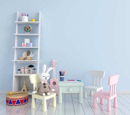 Table and chair in blue children room for mockup, 3D rendering Stockfoto